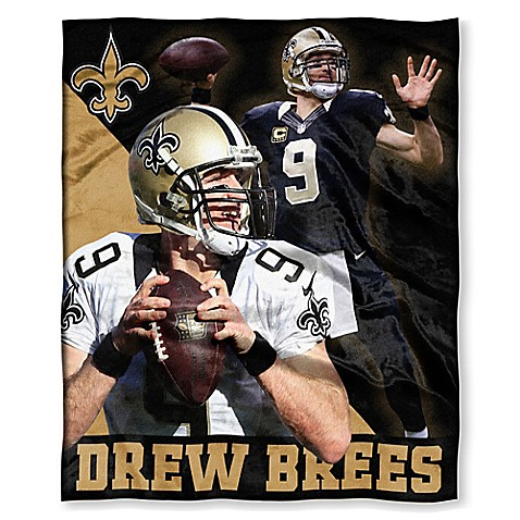 NFL New Orleans Saints Drew Brees Silk Touch Throw Blanket   Tuggl