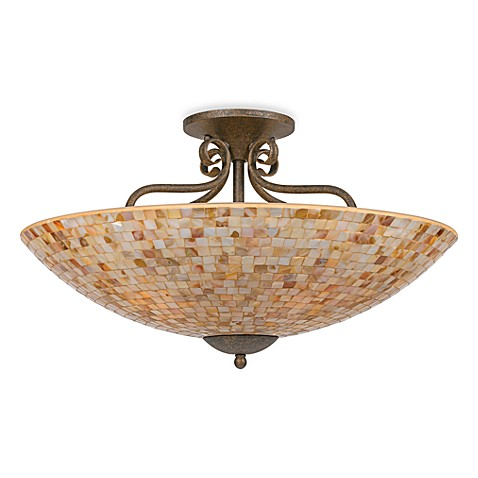Monterey 5 light ceiling fixture in malaga finish with a for Shell ceiling light fixtures