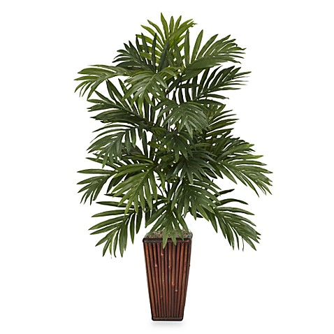 Nearly Natural Areca Palm Silk Plant With Bamboo Vase by Bed Bath And Beyond