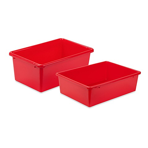 Honey can do plastic storage bin in red bed bath beyond for Red bathroom bin