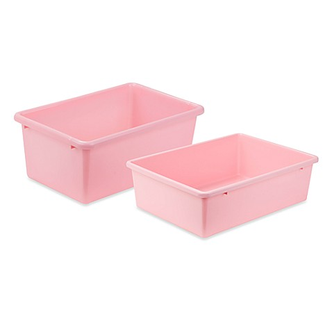 honey can do plastic storage bin in light pink buybuy baby. Black Bedroom Furniture Sets. Home Design Ideas