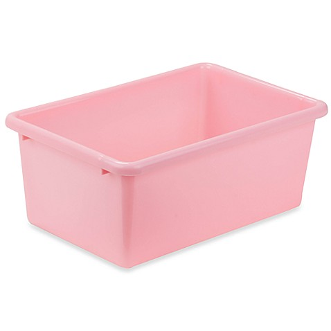 Buy honey can do small plastic storage bin in light pink for Pink bathroom bin