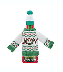 Suéter y gorro decorativos para botella de vino DEI con diseño navideño