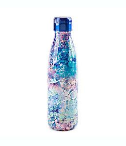 Botella de doble pared Manna™ Vogue® de acero inoxidable con diseño de gatos, 502.75 mL en mármol acuático