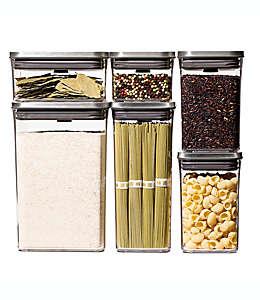 Contenedores de alimentos de plástico OXO Steel POP, 6 piezas