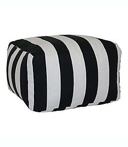 Otomana de poliéster Wamsutta® Cabana Stripe color blanco/negro
