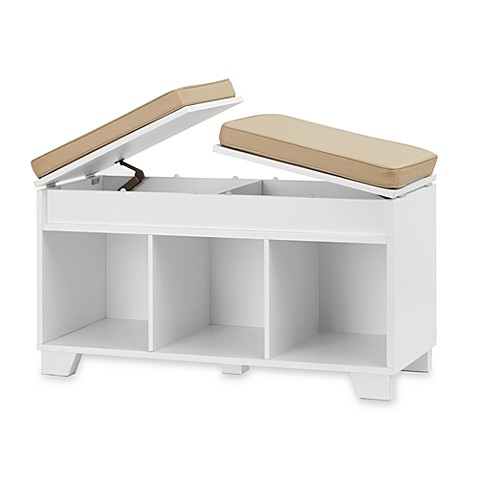 Real Simple® 3-Cube Split-Top Storage Bench in White at Bed Bath & Beyond in Cypress, TX | Tuggl