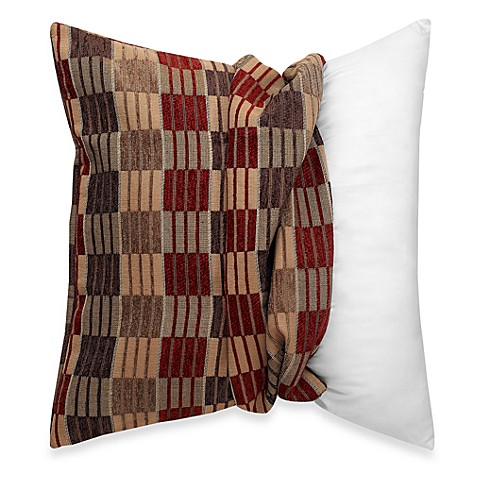 make your own pillow stripes and ladders square throw pillow cover in red brown bed bath beyond. Black Bedroom Furniture Sets. Home Design Ideas