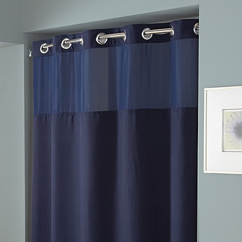 Buy Hookless Waffle 54 Inch X 80 Inch Stall Fabric Shower Curtain In Navy From Bed Bath Beyond