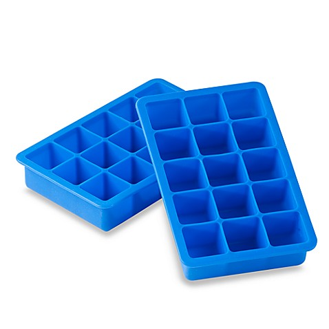 Salt Blue Silicone Ice Cube Trays Set Of 2 Bed Bath