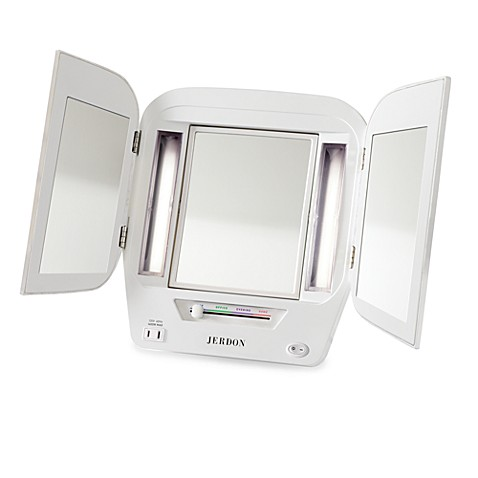 Jerdon Tri Fold Lighted Magnification Mirror Bed Bath