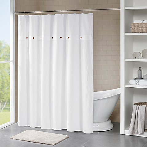Madison Park Finley Shower Curtain In White