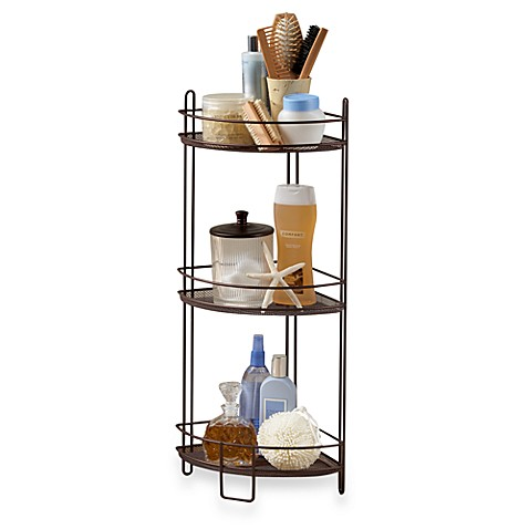buy 3 tier corner storage shelf in oil rubbed bronze from. Black Bedroom Furniture Sets. Home Design Ideas