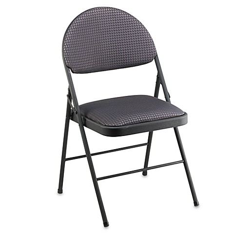 Cosco 174 Oversized Upholstered Metal Folding Chair In Black