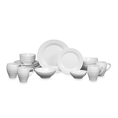 Mikasa® Swirl 20-Piece Dinnerware Set in White at Bed Bath & Beyond in Cypress, TX | Tuggl