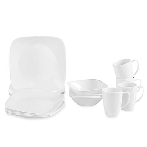 Corelle® Vivid White Square 16-Piece Dinnerware Set at Bed Bath & Beyond in Cypress, TX | Tuggl