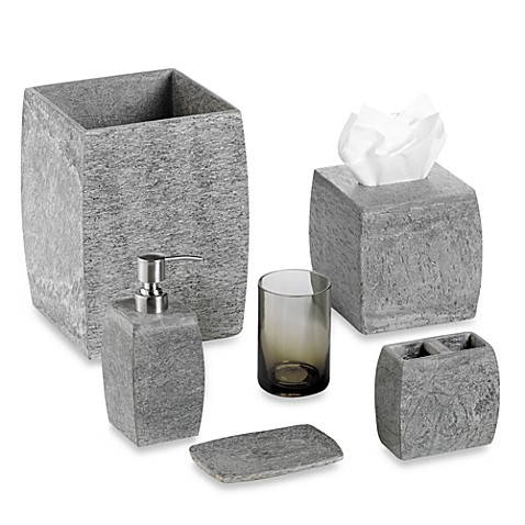 Kenneth cole reaction home slate bath ensemble bed bath for Grey bathroom accessories
