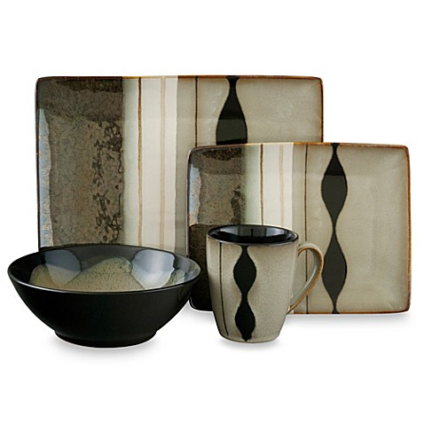 Sango Prelude Black 16 Piece Dinnerware Set Bed Bath