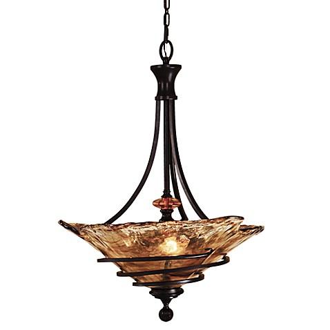 Uttermost 3 Light Glass Oil Rubbed Bronze Vitalia Pendant