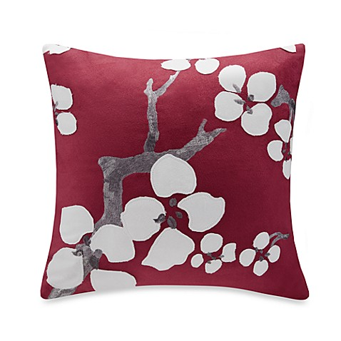 N Natori 174 Cherry Blossom Square Throw Pillow In Red Bed