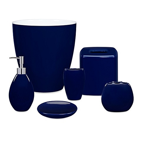 Wamsutta elements navy bath ensemble for Navy bathroom accessory sets