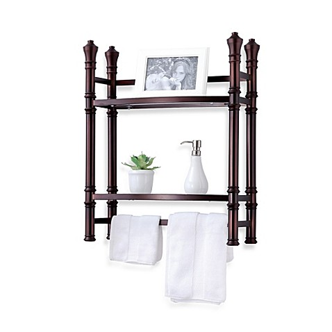Monaco no tools small wall unit tag re in oil rubbed for Small bathroom etagere