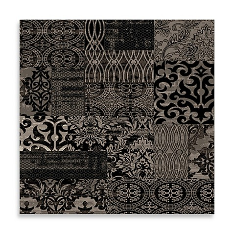 Linon home jewel damask rug in black bed bath beyond for Black and white damask bath mat