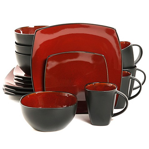 Gibson Home Amalfi 16 Piece Dinnerware Set In Red Black
