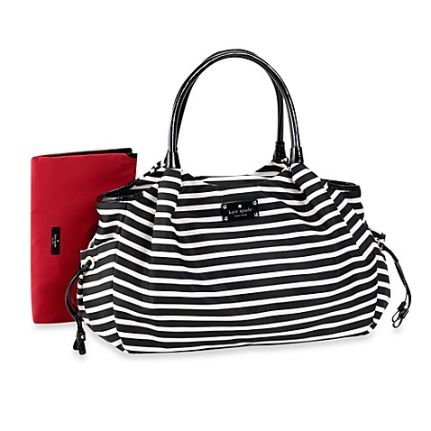 kate spade new york stevie diaper bag in black cream stripe buybuy baby. Black Bedroom Furniture Sets. Home Design Ideas