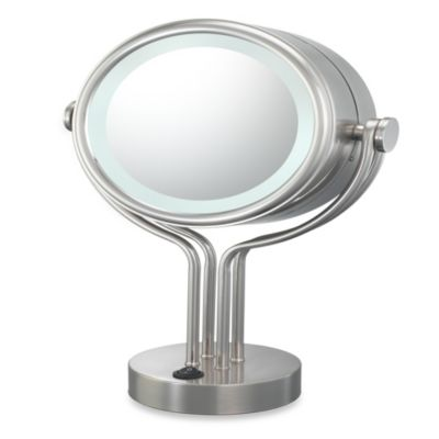 Buy Kimball & Young Lighted 5X/1X Magnification Free Standing Vanity Mirror in Brushed Nickel ...