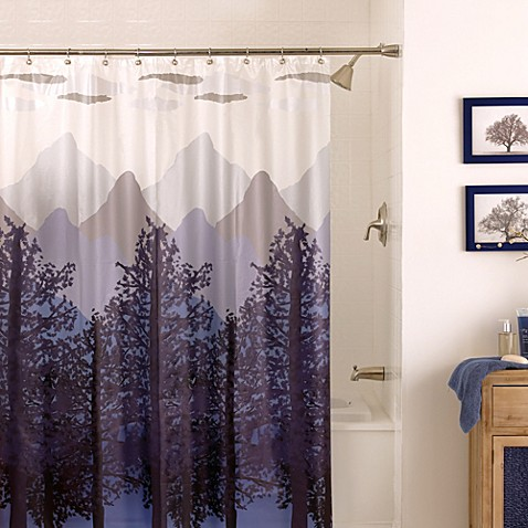 Light Blue Curtains Blackout Flowers Shower Curtain