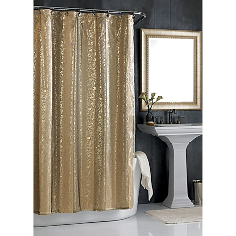 Sheer bliss shower curtain in gold bed bath beyond for A bathroom item that starts with p