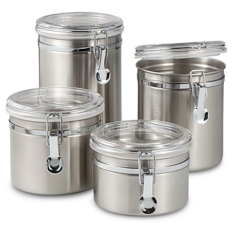 oggi airtight stainless steel canisters with acrylic tops stainless steel canister set kitchen pinterest