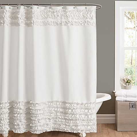 amelie ruffle 54 inch x 78 inch shower curtain in white bed bath beyond. Black Bedroom Furniture Sets. Home Design Ideas