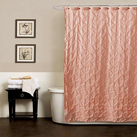 Buy noelle pintuck 72 inch x 84 inch shower curtain in for Peach bathroom accessories