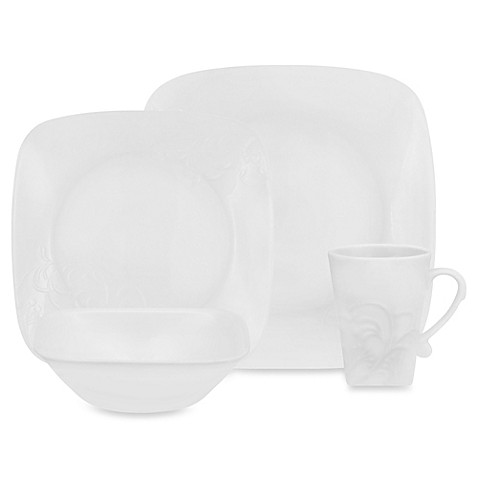 cherish embossed square 16 piece dinnerware set from bed bath beyond