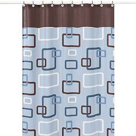Buy sweet jojo designs geo shower curtain in blue brown for Sweet jojo designs bathroom