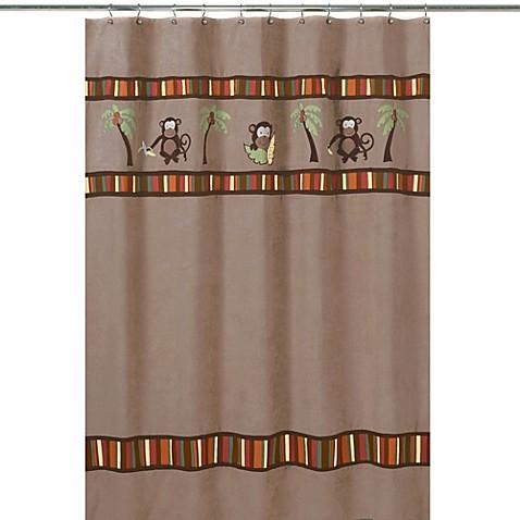 Kids bath decor sweet jojo designs monkey shower curtain for Sweet jojo designs bathroom