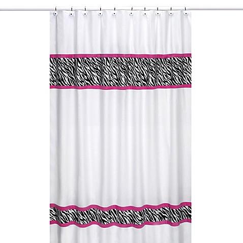 Sweet jojo designs funky zebra shower curtain in pink for Sweet jojo designs bathroom