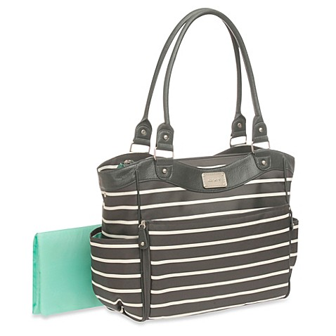 carter 39 s zip down changing pad diaper bag in grey white buybuy baby. Black Bedroom Furniture Sets. Home Design Ideas
