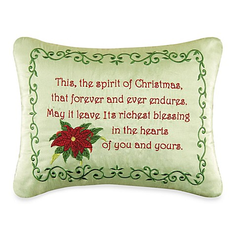Holiday Garland Spirit of Christmas Embroidered Throw Pillow - Bed Bath & Beyond