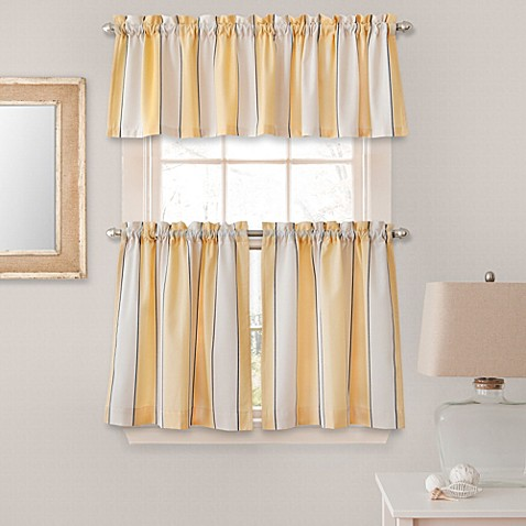 buy stripe window curtain valance in yellow from