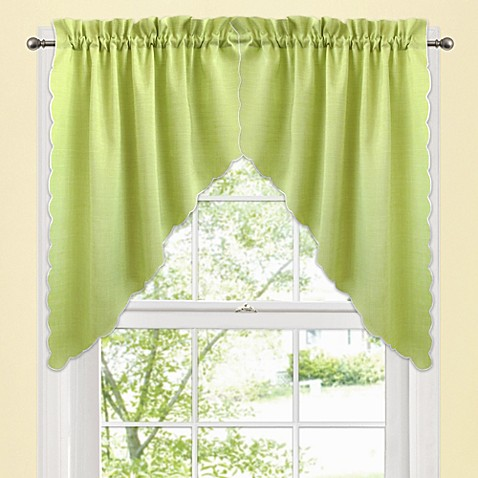 window curtain swag valance pair in green bed bath beyond