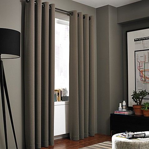 Gotham Texture Lined Grommet Window Curtain Panel Bed Bath amp Beyond