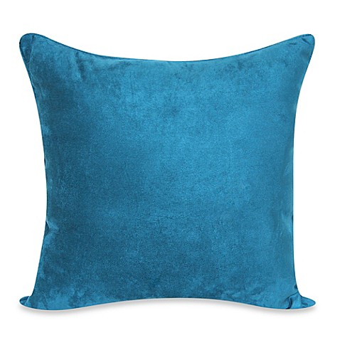 Heavy Faux Suede 20 Inch Throw Pillow In Dark Teal Bed