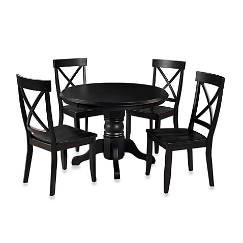 Piece Pedestal Table Dining Set In Black Finish From Bed Bath Beyond
