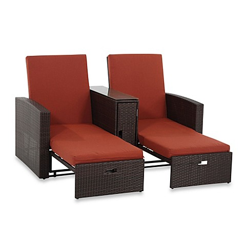Wicker double chaise lounge bed bath beyond for Bathroom chaise lounge
