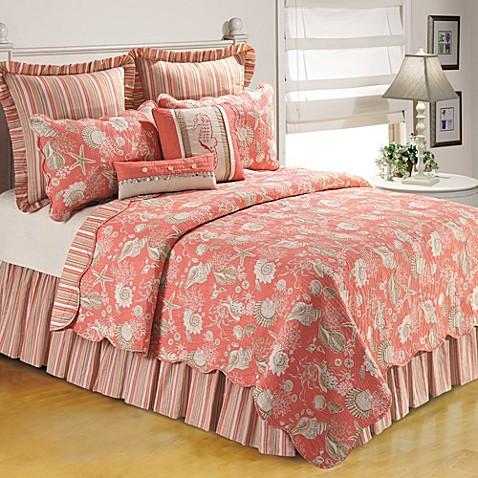 Bed Bath And Beyond Quilts Natural Shells Quilt in Coral - Bed Bath & Beyond