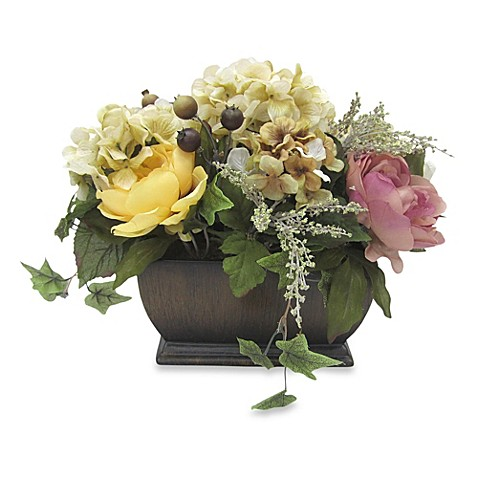 Rose and hydrangea small mixed decorative floral for Small rose flower arrangement