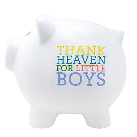 About face designs thank heaven for little boys large ceramic piggy bank - Coin banks for boys ...